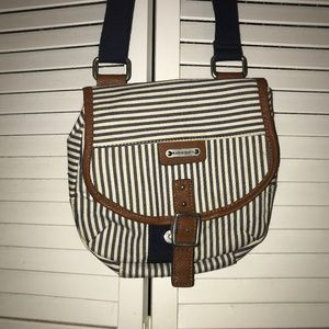 blue and white stripped crossbody bag